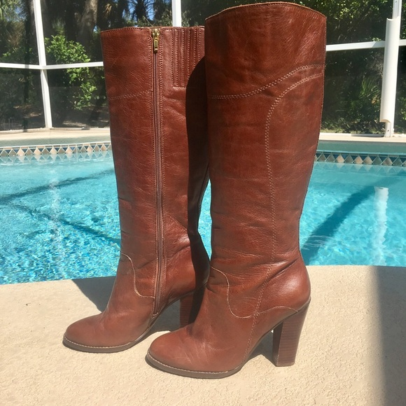 1d9527f4dc2 Audrey Brooke, 8M Brown leather Riding Boots